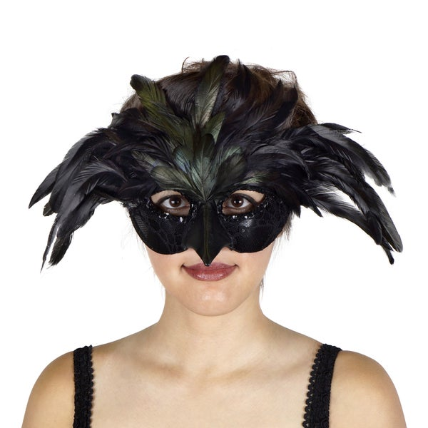 Black Raven Feather Mask