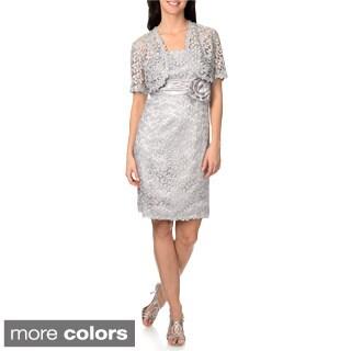 R & M Richards Women's Metallic Crochet Dress with Matching Jacket