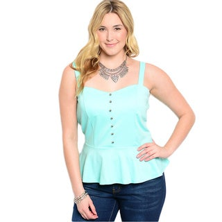 Shop The Trends Women's Plus Size Sleeveless Sweetheart Peplum Top