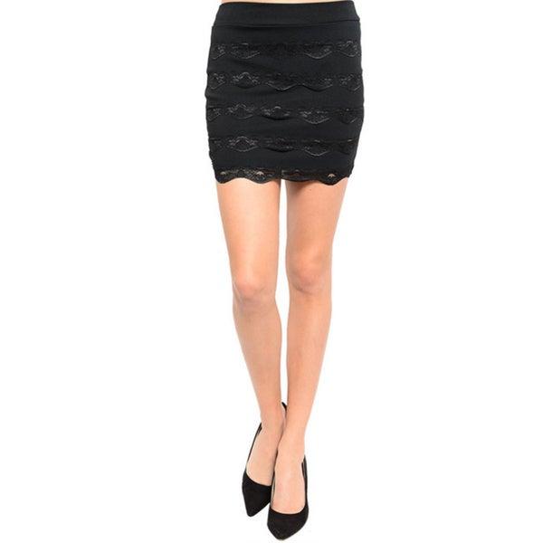 Shop The Trends Women's Lace Panel Trim Mini Skirt