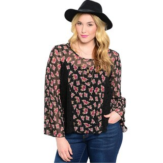 Shop The Trends Women's Plus Size Floral Print Long Sleeve Sheer Chiffon Top