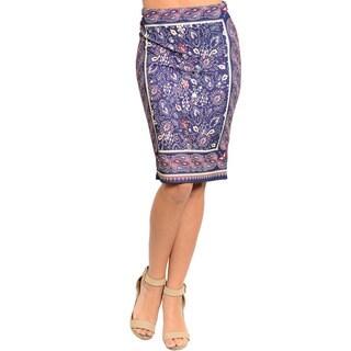 Shop The Trends Women's Paisley Print Semi Stretch Mid-length Skirt