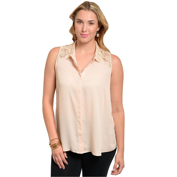 Shop The Trends Women's Plus Size Peach Sleeveless Crochet-shoulder Woven Top