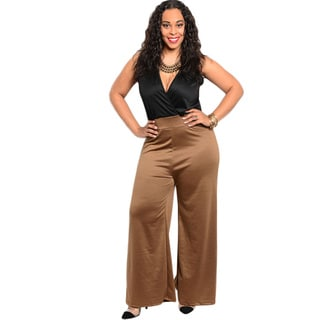 Shop The Trends Women's Plus Size Wide-leg Combination Romper