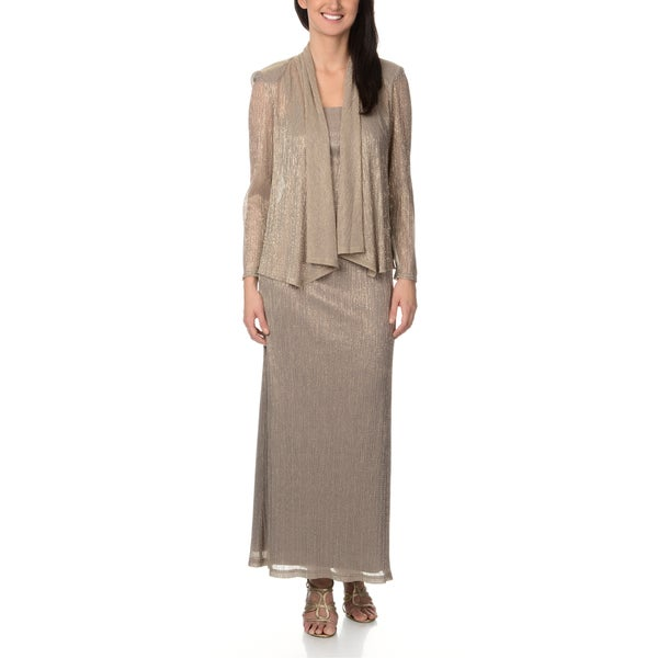 R & M Richards Women's Textured Lurex Gown and Jacket