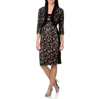 R & M Richards Women's Sequin Crocheted Dress and Jacket Set