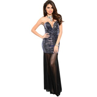 Shop The Trends Women's Floral Metallic Top Strapless Long Dress