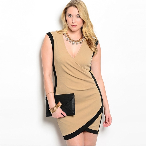 Shop The Trends Women's Plus Size Sleeveless Knit Tulip-hem Short Dress