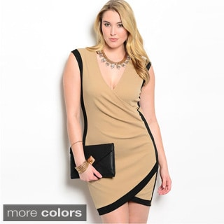Feellib Women's Plus Size Sleeveless Knit Tulip-hem Short Dress