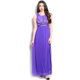 Feellib Women's Sleeveless Sheer Chiffon Maxi Dress With Round Neckline And Geometric Sheer Mesh Inset