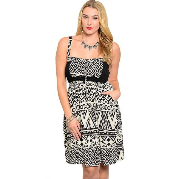 Shop The Trends Women's Plus Size Geo Pattern Sleeveless A-line Dress