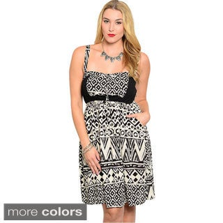 Shop The Trends Women's Plus Size Geo Pattern Sleeveless A-line Dress