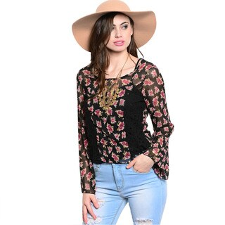 Shop The Trends Women's Floral and Lace Long Sleeve Sheer Woven Top