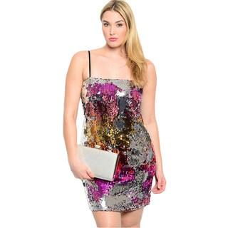 Shop The Trends Women's Plus Size Black/ Multicolored Spaghetti Strap Mini Dress
