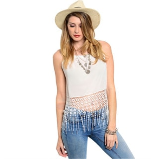Shop The Trends Women's Off-white Sleeveless Bohemian Woven Crop Top