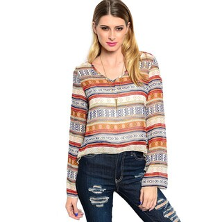 Shop The Trends Women's Striped Long Sleeve Sheer Chiffon Top
