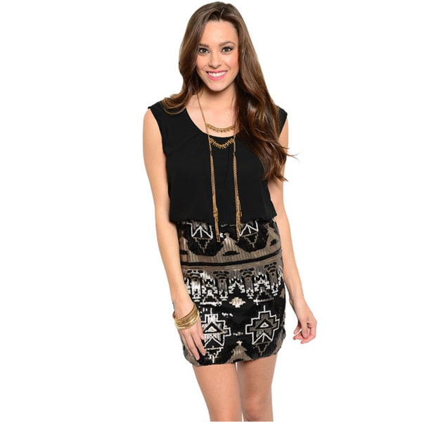 Shop The Trends Women's Sleeveless Blouson Style Mini Dress (As Is Item)