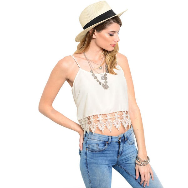 Shop The Trends Women's Ivory Boxy Fit Crop Top with Chandelier Crochet Hemline