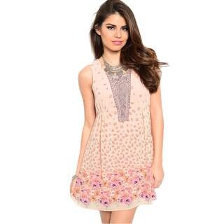 Shop The Trends Women's Coral Sleeveless Woven Short Dress