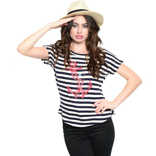 Shop The Trends Women's Navy Nautical Striped Short Sleeve Knit Top
