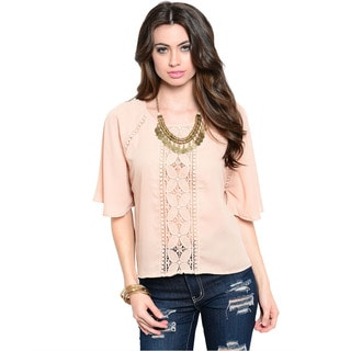 Shop The Trends Women's Pink Boxy Fit Lightweight Woven Top