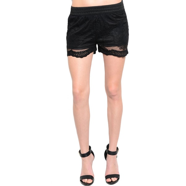 Shop The Trends Women's Sheer Embroidered Lace Shorts