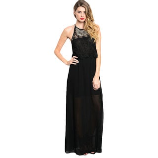 Feellib Women's Black Sleeveless Column Style Maxi Dress