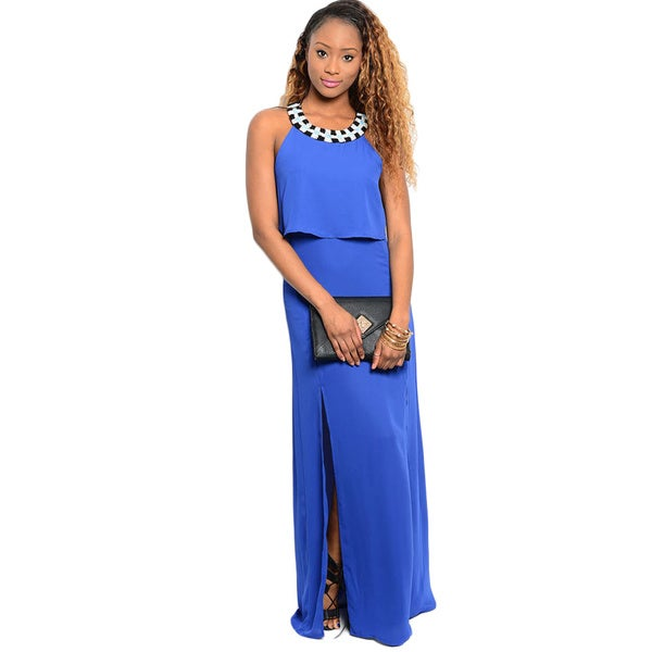 Shop The Trends Women's Sleeveless Column Style Woven Maxi Dress