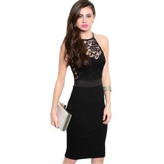 Feellib Women's Black Floral Lace Halter Bodycon Dress