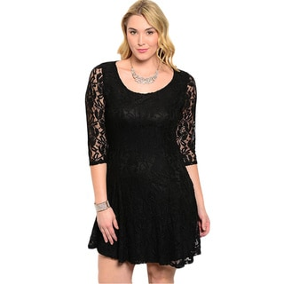 Feellib Women's Plus Size Black Floral Lace Fit and Flare Short Dress