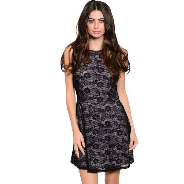 Shop The Trends Women's Black Floral Lace Sleeveless Fit and Flare Dress
