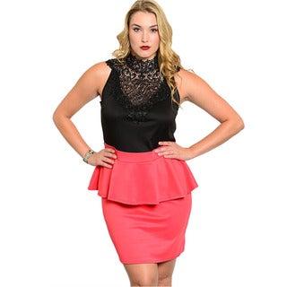 Feellib Women's Plus Size Two-tone Peplum Dress with Lace Mock Neckline