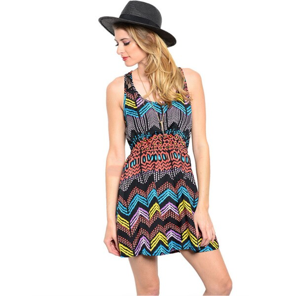 Shop The Trends Women's Multicolored Fit and Flare Short Dress