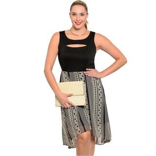 Shop The Trends Women's Plus Size Cutout Chest Combination Dress