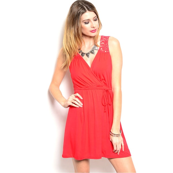 Shop The Trends Women's Red Knit Fit-and-Flare Dress with Sheer Crochet Lace Back