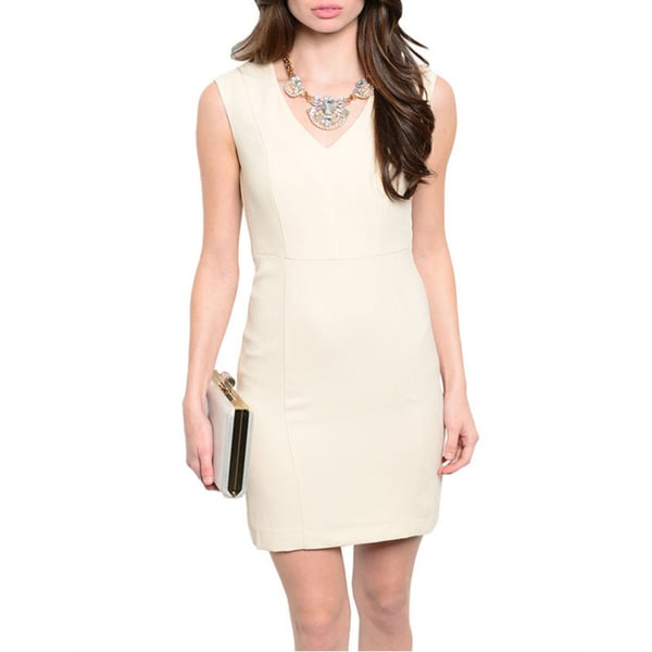 Shop The Trends Women's Beige Sleeveless Sheath Dress