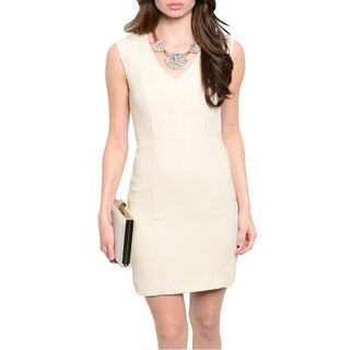 Feellib Women's Beige Sleeveless Sheath Dress