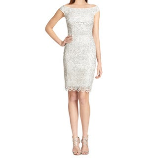Kay Unger Women's Platinum Off The Shoulder Scalloped Sequin Lace Cocktail Dress