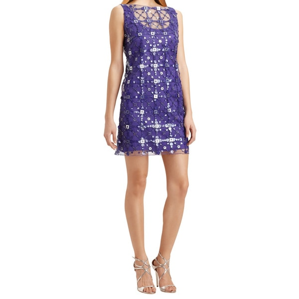 Milly Women's Purple Jolie Sequined Overlay Sleeveless Beaded Shift Cocktail Evening Dress