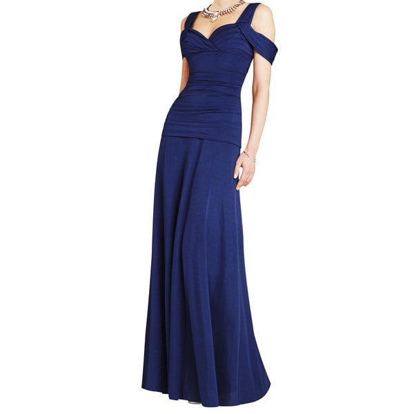 BCBG Max Azria Women's Blue Nathalie Ruched Knit Formal Evening Gown Dress