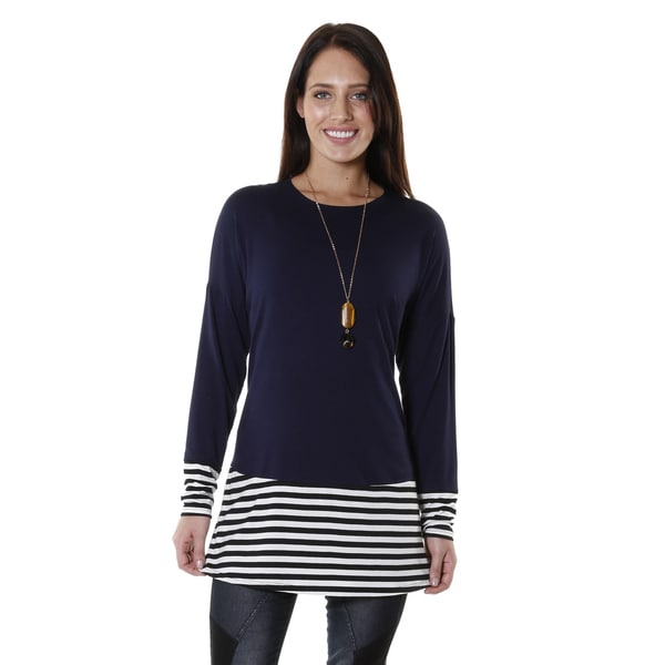 Hadari Women's Striped Long Sleeve Color Block Tunic