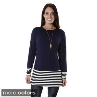 Hadari Women's Striped Long Sleeve Color Block Tunic