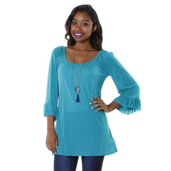Hadari Women's Bell Sleeve Scoop Neck Tunic