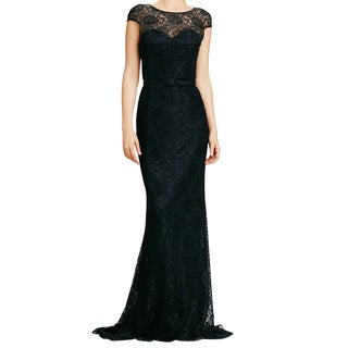 Theia Women's Lace Overlay Belted Formal Gown