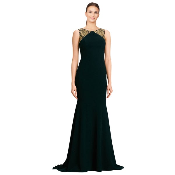 Theia Floral Metallic Lace Inset Crepe Flared Black Evening Gown