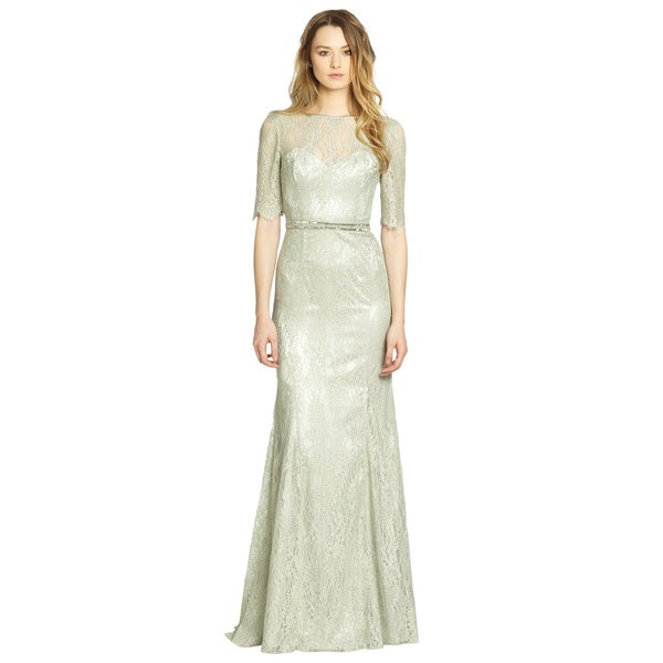 Theia Celadon Green Lace Boatneck Beaded Waist Formal Evening Gown