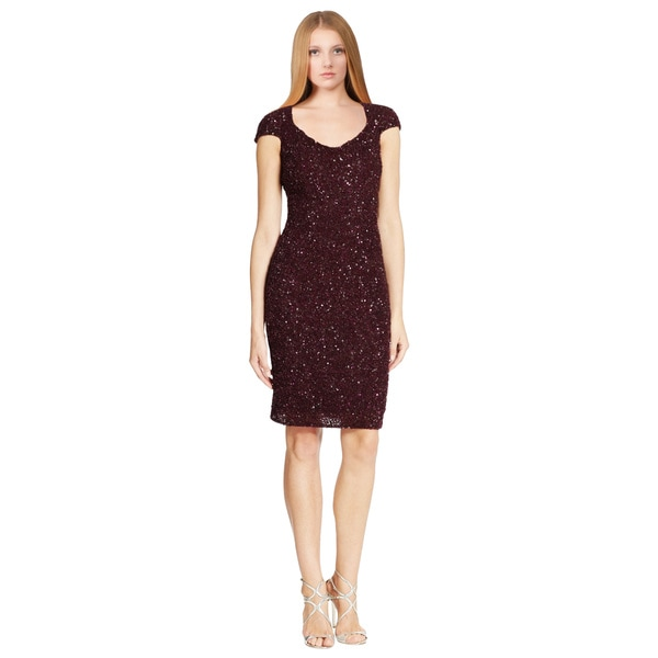 Theia Purple Sequin Open Back Cap Sleeve Cocktail Dress