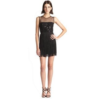 BCBG Maxazria Black Beaded Bodice Melly Fringe Dress