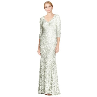 Theia Green Satin Petal Three Quarter Sleeve V-neck Evening Gown