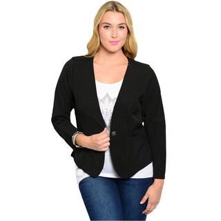 Feellib Women's Plus Size Black Single-button Blazer